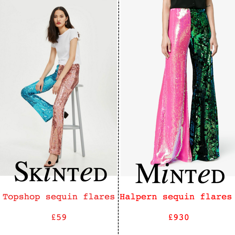 Skinted minted sequin flares